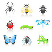 Cartoon insect icon set — Stock Vector