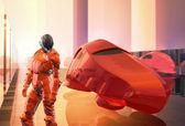 Carro futurista de piloto vermelho — Foto Stock