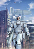 Futuristic soldier space infantry — Stock Photo
