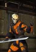 Futuristic soldier alien warrior — Stock Photo