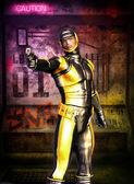Futuristischen soldaten manga geheimagent — Stockfoto