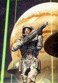 Futuristic soldier starship toroopers — Stock Photo