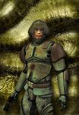 Futuristic soldier in uniform — Stock Photo
