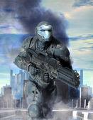 Futuristic soldier armor at war — Stock Photo