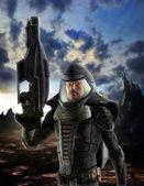 Futuristic soldier in spacesuit — Stock Photo