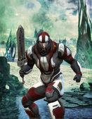 Futuristic soldier in armor — Stock Photo