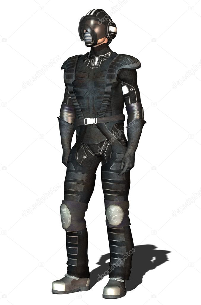 Space fighter pilot black over white background 3D illustration — Photo #7177495