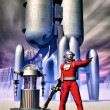 Astronaut and robot and spaceship vintage — Stock Photo #7185381