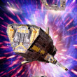 Spaceship warp drive - Stock Photo