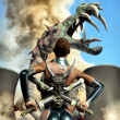Futuristic warrior girl and monster — Stock Photo
