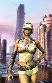 Futuristic city girl — Stock Photo