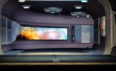 Kosmická loď koridor pozadí — Stock fotografie