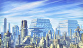 Futuristic city background — Stock Photo