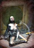 Dead astronaut girl — Stock Photo