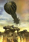 Robot invasion and spaceship — Stock Photo