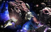 Spaceship asteroid field space base — Stock Photo