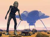 Alien on Mars — Stock Photo