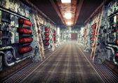 Spaceship corridor background — Stock Photo