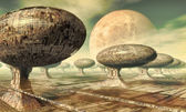 Alien planet city — Stock Photo