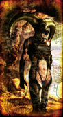 Cyberpunk alien hermit painted — Stock Photo