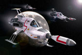 Spaceship interceptor moon ufo — Stock Photo