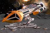 Spaceship hawk moon and moonbase — Stock Photo