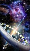 Spaceship alien world ringworld — Stock Photo