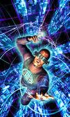 Future man cyberpunk neuromancer hacker — Stock Photo