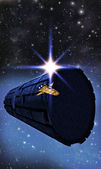 Spaceship rendezvous rama — Stock Photo
