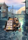 Spaceship and futuristic city — Stock Photo