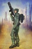 Futuristic soldier — Stock Photo