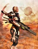 Futuristic soldier woman — Stock Photo
