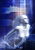 Futuristic ghost woman — Stock Photo
