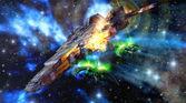 Spaceships battle — Stockfoto
