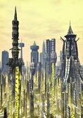 Futuristic city background — Stock Photo