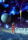 Astronaut och främmande planet — Stockfoto