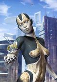 Robot kvinna och futuristiska staden — Stockfoto