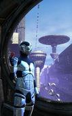 Robot cyborg and futuristic city — Stock Photo