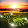 Ufo alien crop circle — Stock Photo