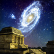 Ufo alien maya temple and galaxy — Stock Photo