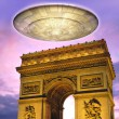Ufo alien over Paris — Stock Photo #7219985