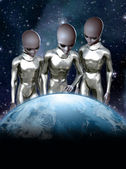 Ufo alien rule the world — Stock Photo