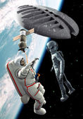 Ufo alien astronaut space encounter — Stock Photo