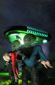 Ufo alien girl abduction — Stock Photo