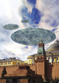 Ufo alien over Moscow — Stock Photo