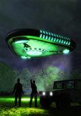 Ufo alien triangular spacecraft — Stock Photo