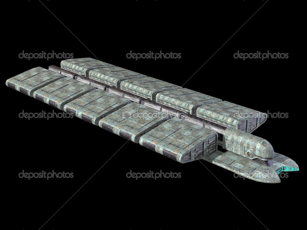 Spaceship isolated on a black background 3D Illustration — Stock Photo #7212431