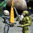 Astronauts human and alien — Stockfoto