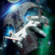 Spaceship chase — Stockfoto