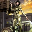 Futuristic soldier girl — Stock Photo